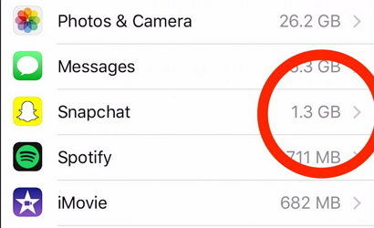clear snapchat storage on iphone