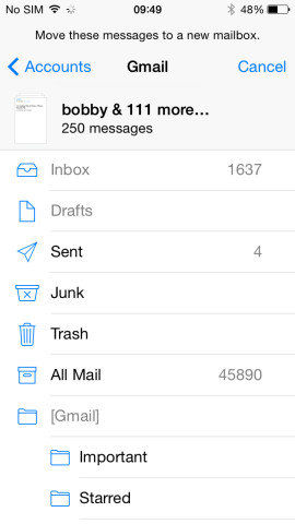 move and delete emails