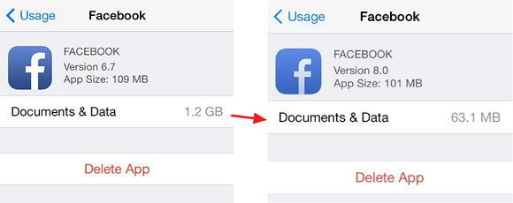 clear document and data in facebook from iphone