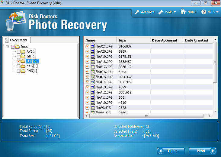 disk doctors photo recovery menu