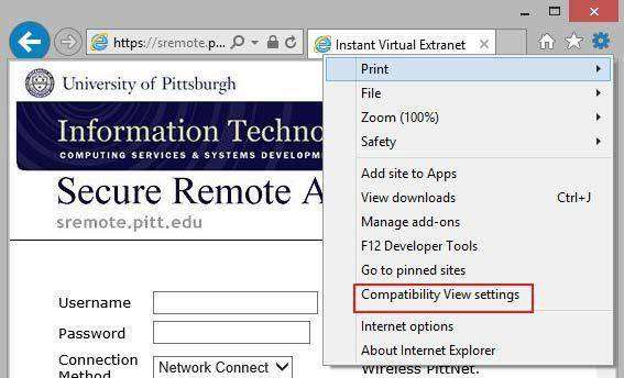 compatibility settings on Internet Explorer 11