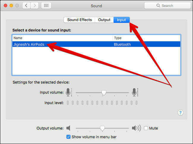 Select AirPods as Input Sound on Mac