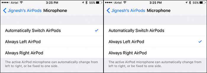 Change AirPods Microphone Settings