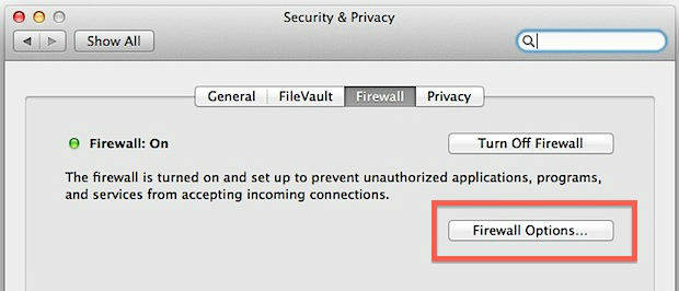 disable firewall on mac