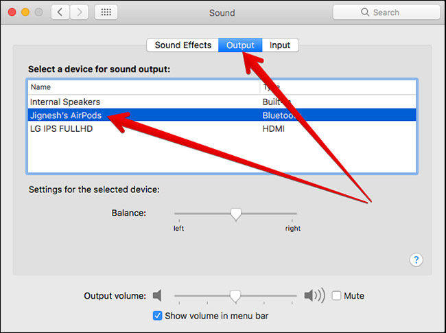 Select AirPods as Output Sound on Mac