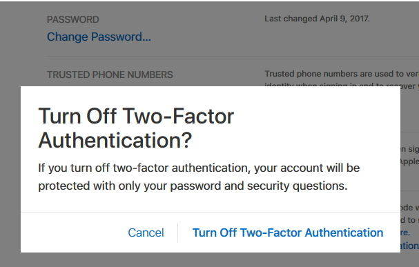 turn off two factor authentication apple