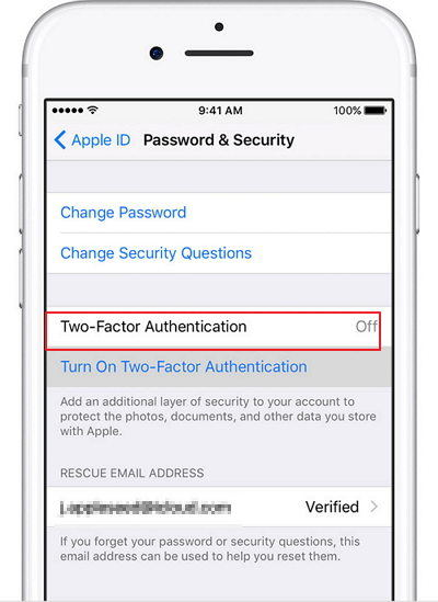turn off two factor authentication on iphone