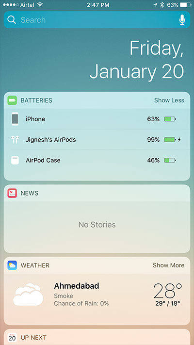 Check AirPods battery status from battery widget on iPhone