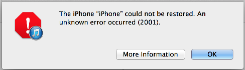 iPhone iTunes error 2001