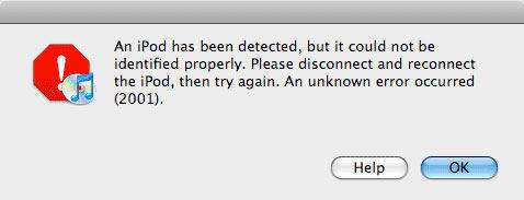 iPod iTunes error 2001