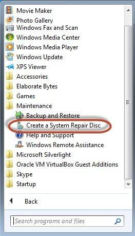 create system repair disk win 7