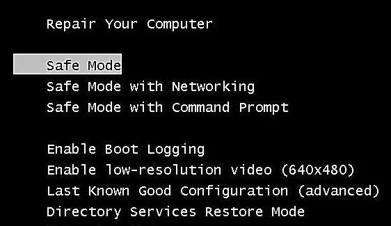 boot into safe mode