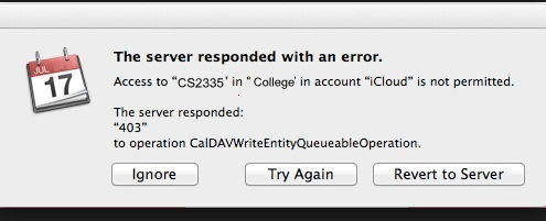 the error message of iCloud 403 calendar error