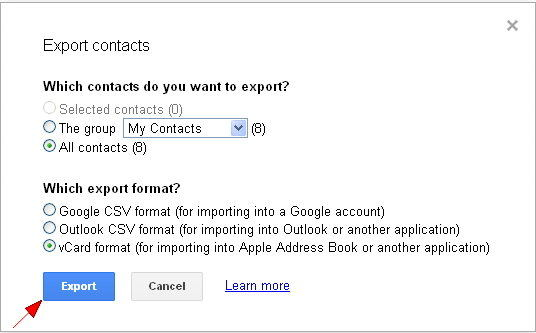 exporting vcard from gmail