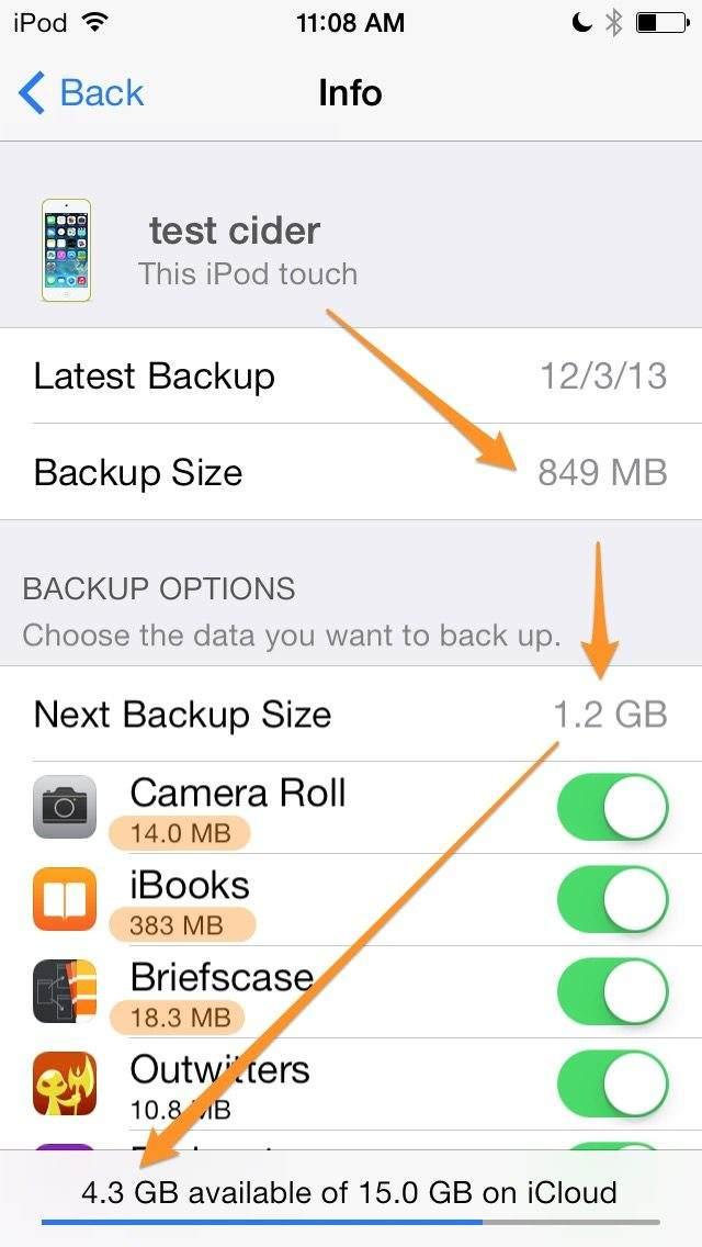 Check Icloud Backup Size