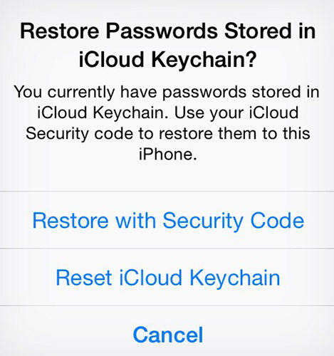 reset keychain code on iphone and ipad