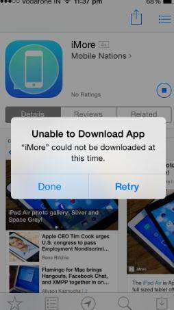 fail to download iphone app