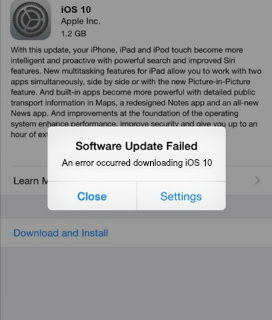ios 10 update failed