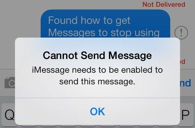 fix imessage needs to be enabled to send this message