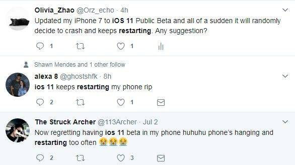 ios 11 iphone crash problems from twitter