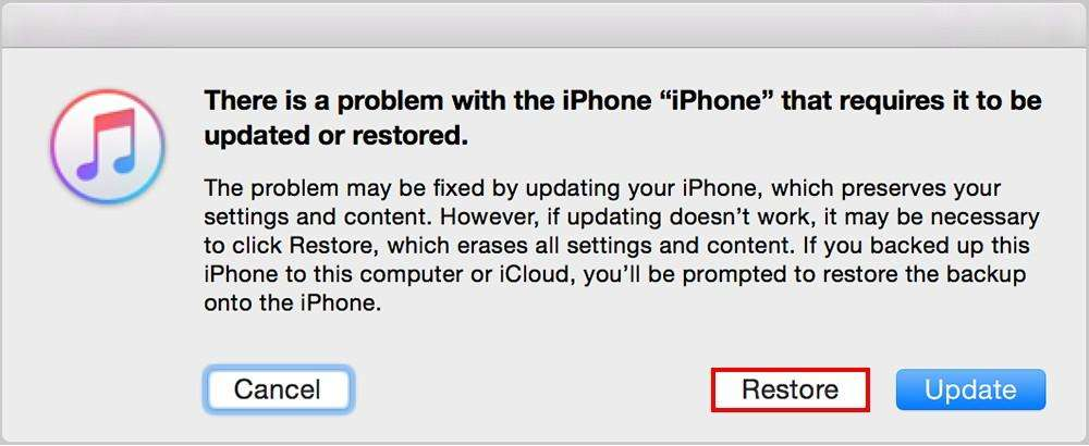 restore device from itunes