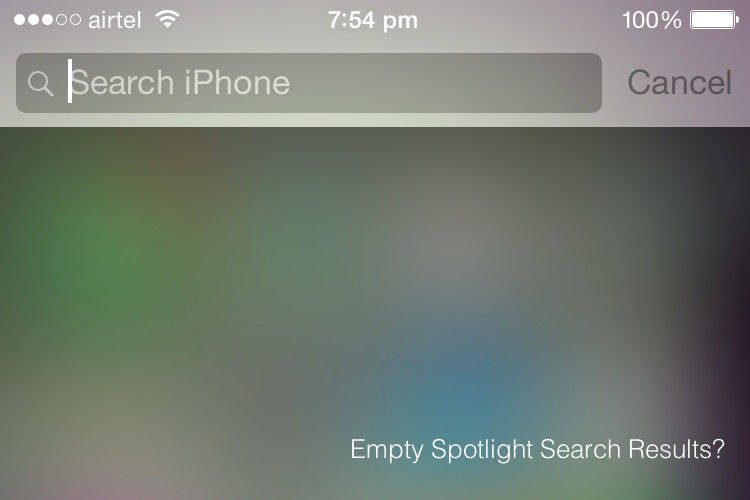 ios 9 spotlight search no results