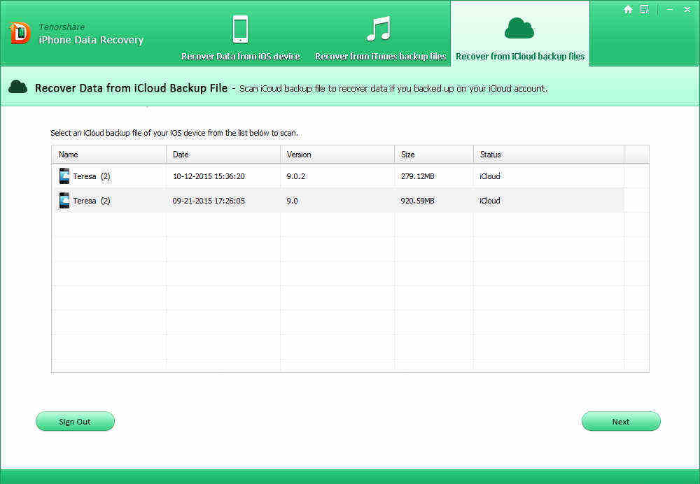 recover data from ios 9 icloud backup file