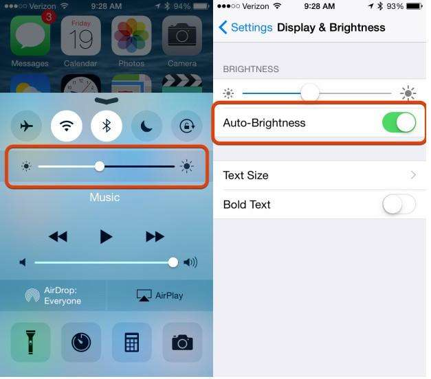 save battery life with brightness settings
