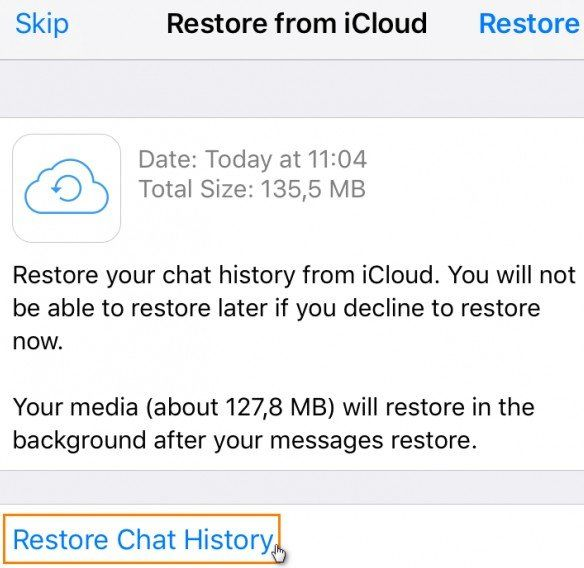 restore LINE chat history
