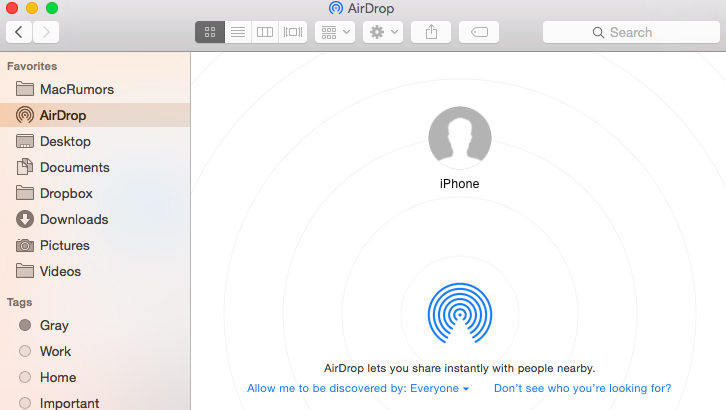 airdrop share photos between iphones and macs