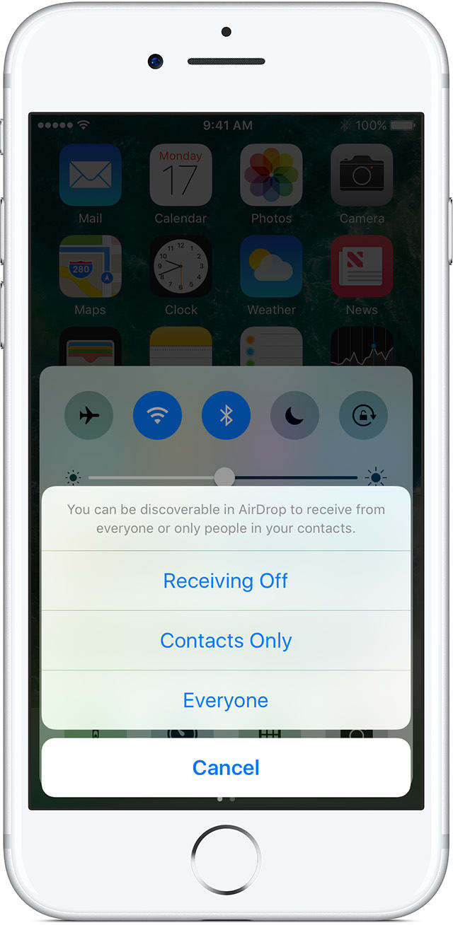 choose everyone option to be seen by all nearby iOS devices using AirDrop