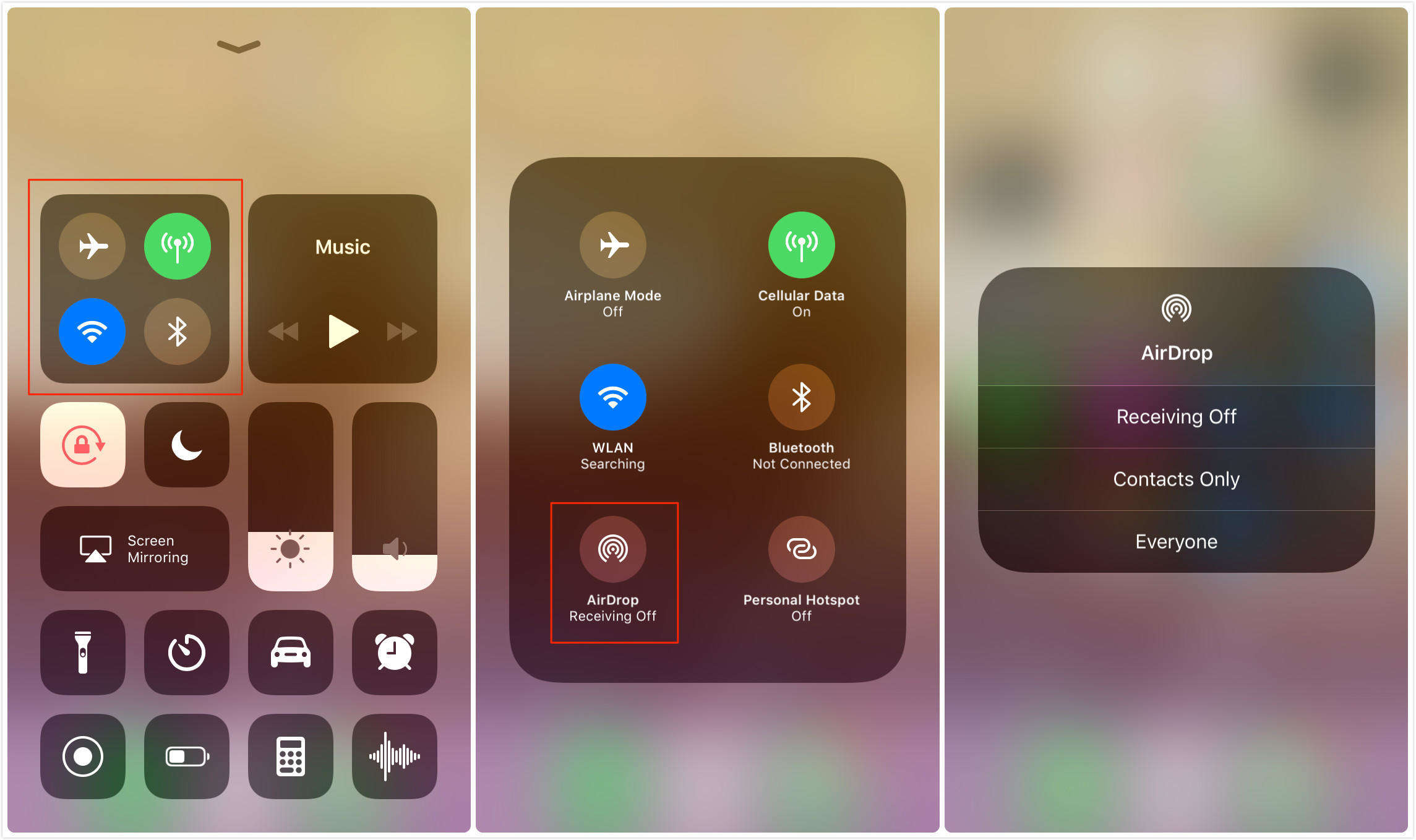 enable airdrop in control centre
