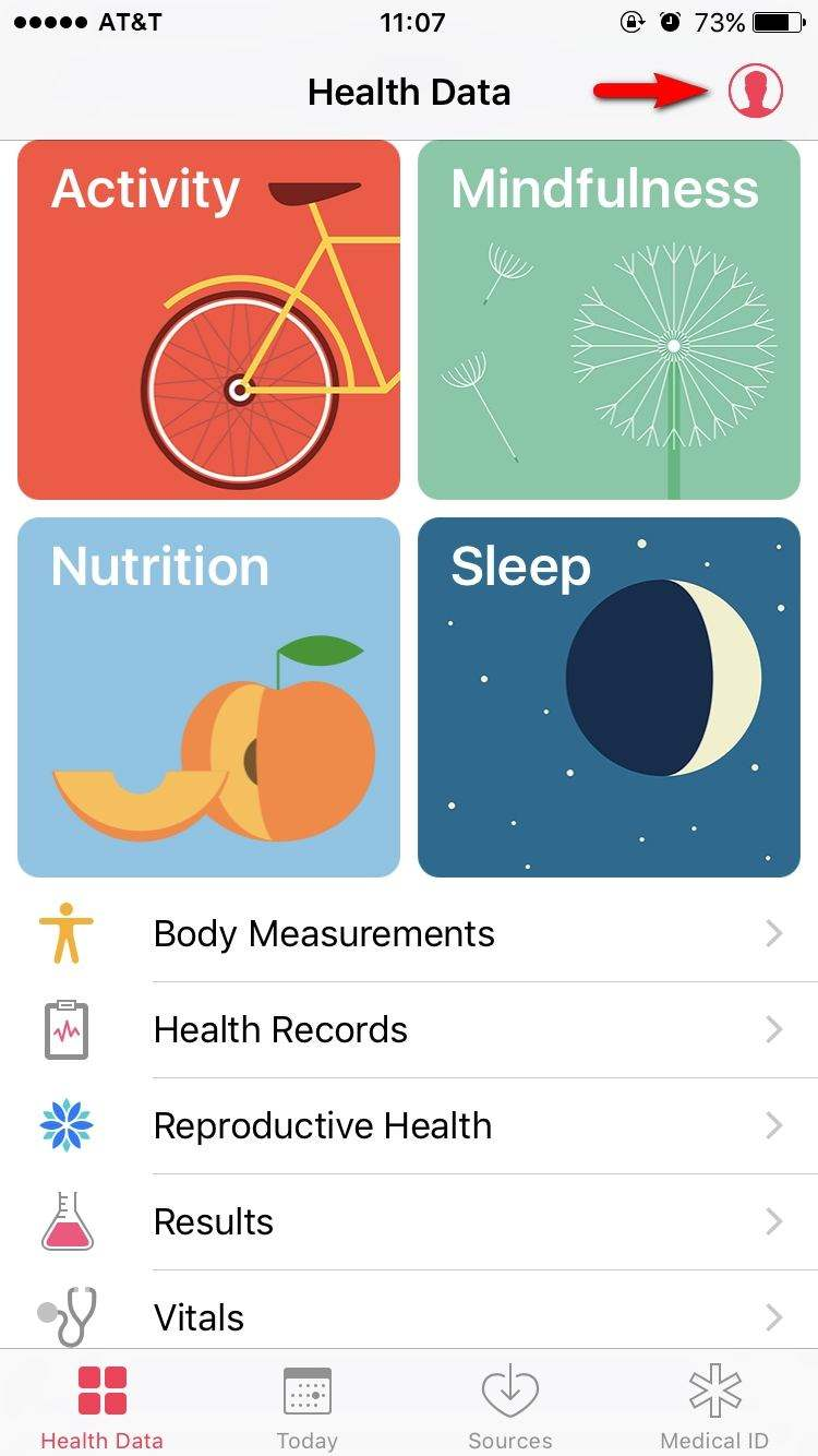 health app interface