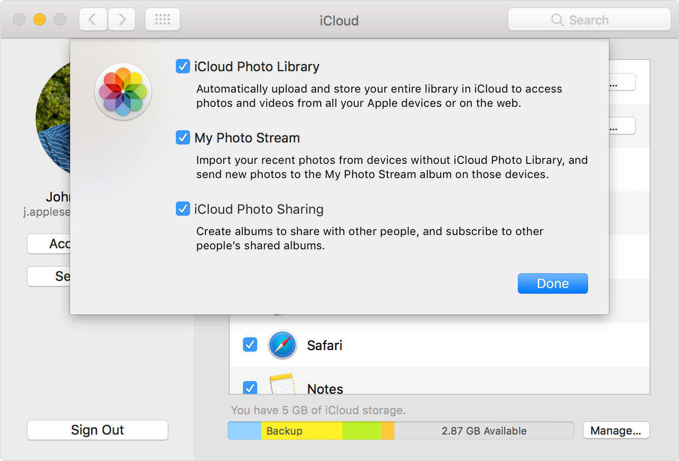 turn on icloud photos library on mac