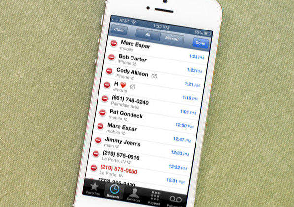 the call history of iPhone
