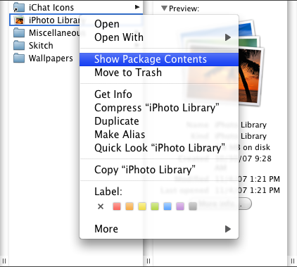 show iphoto library contents