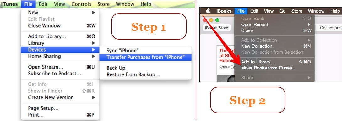 transfer purchased books from iphone to mac