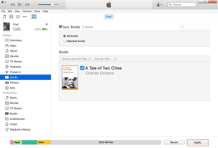 transfer pdf with itunes