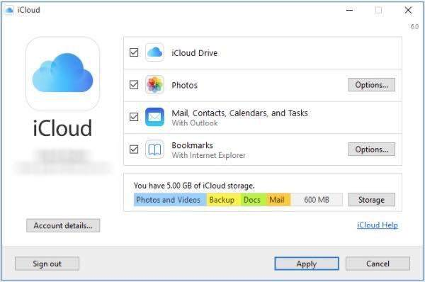 storage location on icloud windows