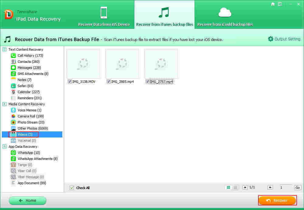 restore lost videos from iTunes backup file