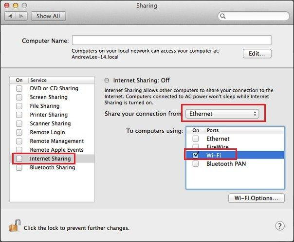 share internet connection from mac to iphone wirelessly