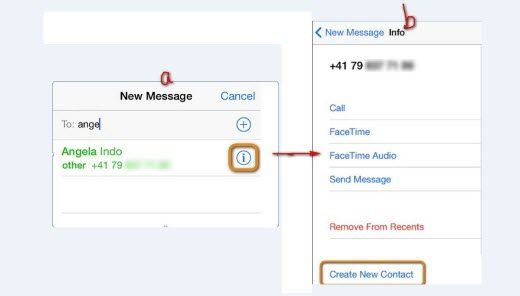 save lost contacts through iphone message app