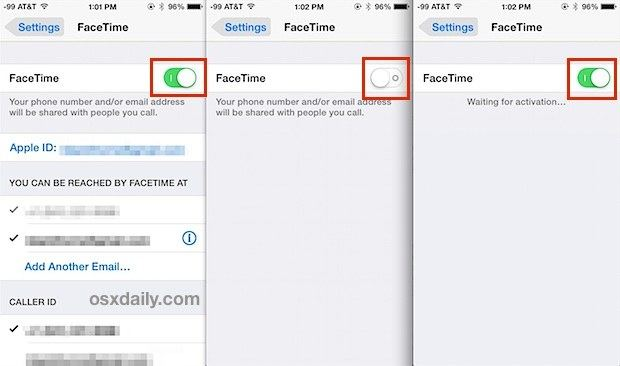 reactivate facetime in ios device