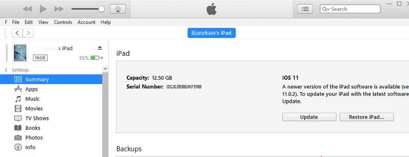 update ipad using itunes