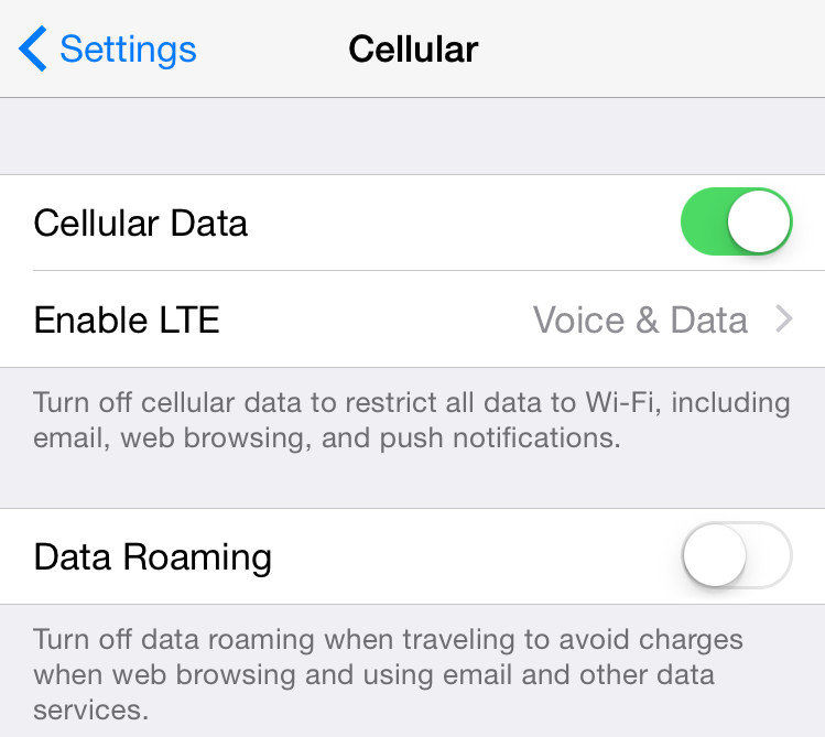 use cellular data