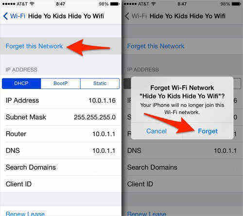 ios wifi forget network