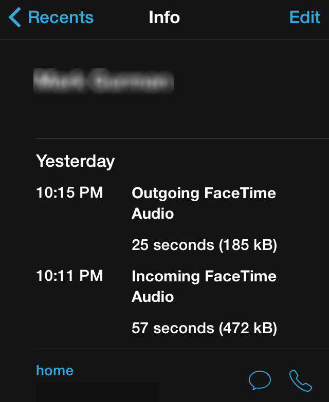 facetime calls data usage