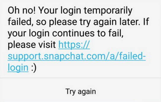can't login to snapchat