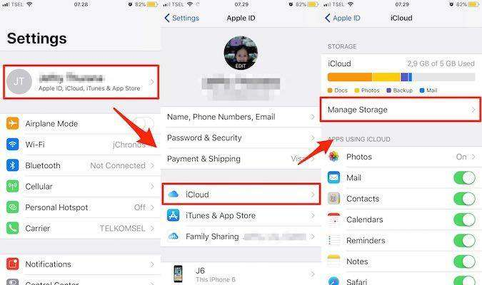 Accessing iCloud Storage from Settings