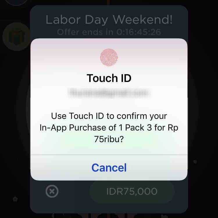 enabling purchase using touch ID